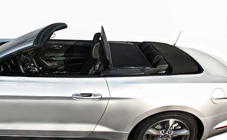 2015 convertible mustang with a wind deflector install by love the drive