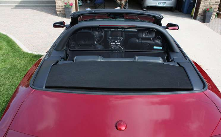 Mustang 2015 convertible with cdc lightbar and wind deflector installed by love the drive2