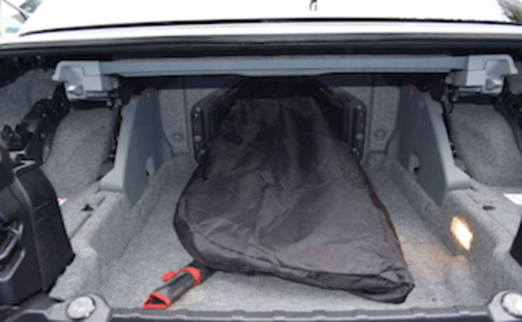 Bmw e93 3 series convertible wind deflector thru passageway trunk into backseat