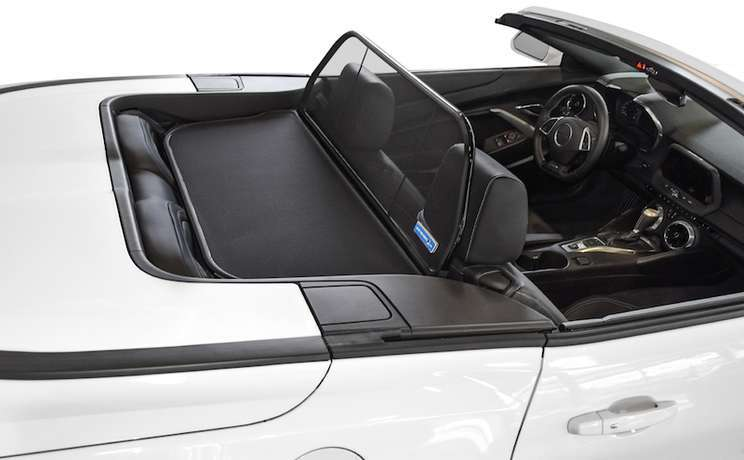 Camaro convertible wind deflector 2016 to 2020 by love the drive white side rear view